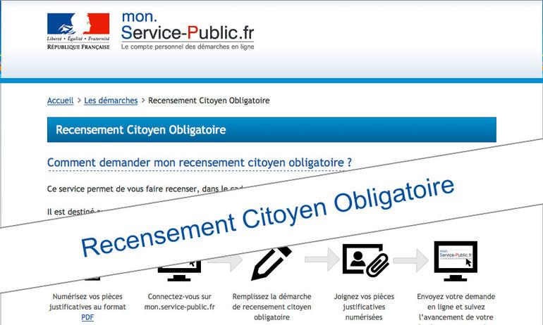 Recensement citoyen obligatoire vos d marches - Bureau de service national du lieu de recensement ...